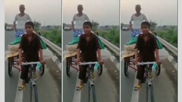 11-year-old-boy paddles parents on a tricycle to Araria from Varanasi